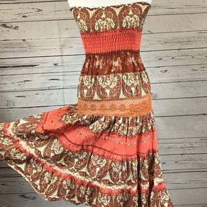 Strapless boho maxi dress crochet trim  size M